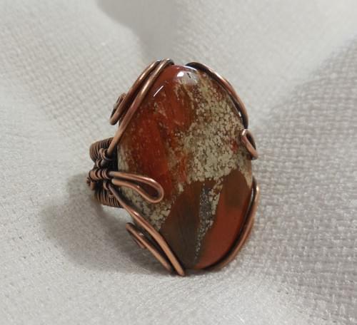 Grande Anello Ricamato in Rame e Diaspro Rosso