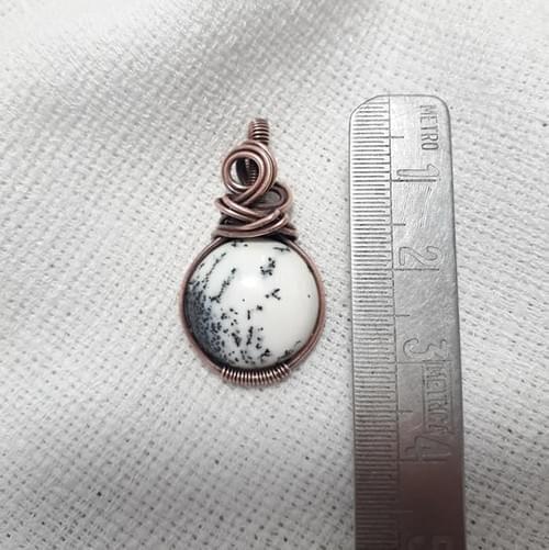 Mini Ciondolo charm in Opale Dendritico e Rame