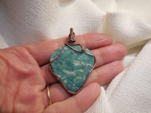 Grande Ciondolo Amuleto in Rame e Amazzonite