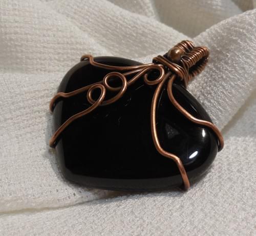 Grande Ciondolo Amuleto in Onice e Rame