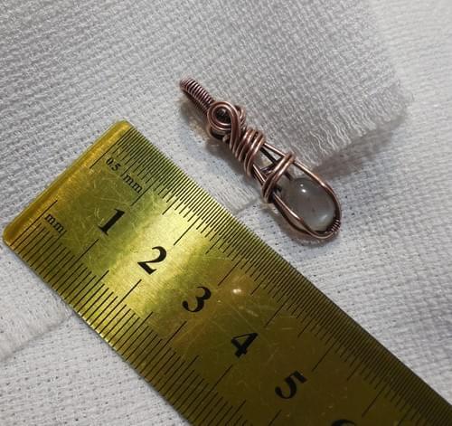 Mini Ciondolo Amuleto in Pietra di luna grigia (Adularia) e Rame