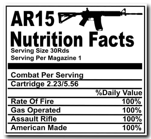 AR15 Nutrition Facts Decal