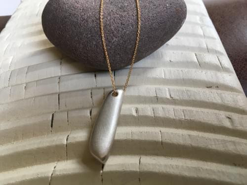 Infinity Long Silver Pendant with a Touch of Gold