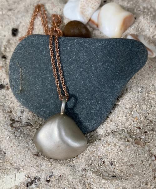 Infinity Sea - Small Silver Shell Pendant hung on Rose Gold Necklace