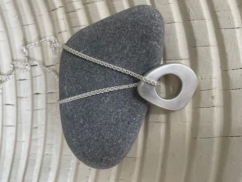 Infinity Sea Silver Hag Stone Pendant