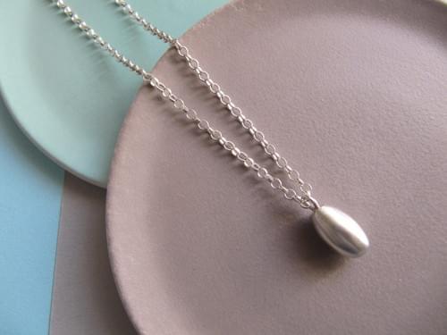 Infinity Silver Egg Pendant