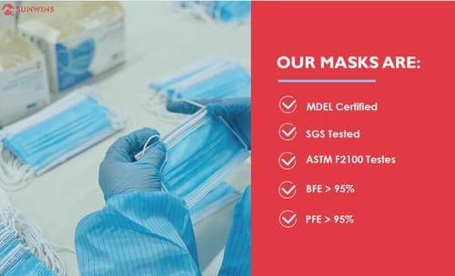 Medical Grade disposable face mask 50pc (level 1 & level 2 made in Canada)