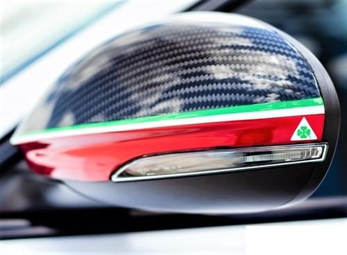 アルファロメオ ジュリア カーボンミラーカバー(トリコローレカラー QV ロゴ )