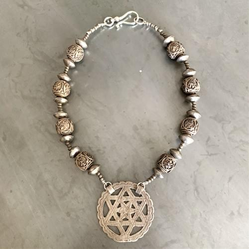 Tunisian Star of David Old Silver Pendant on Antique Beads