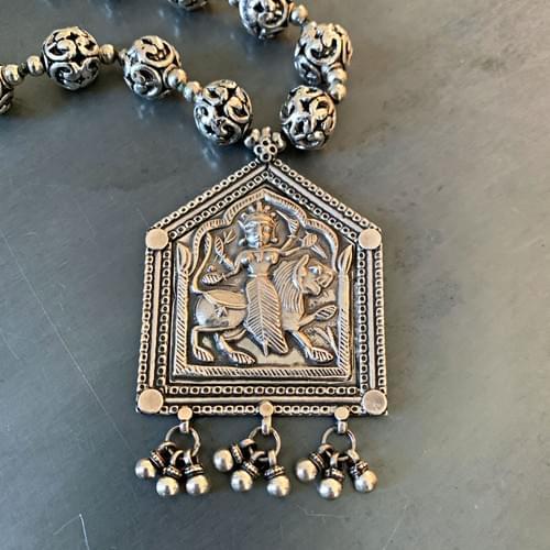 Goddess Durga Sterling Silver Pendant