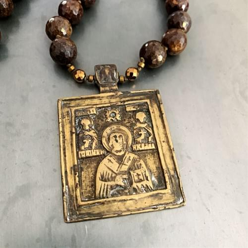 Rare Antique Russian Orthodox Icon Pendant