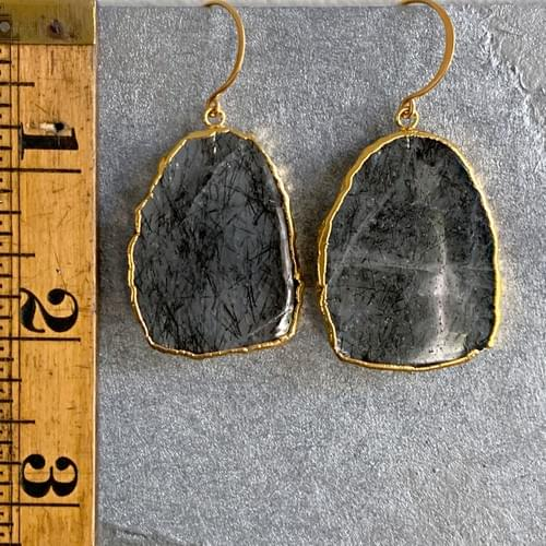 Rutilated Quartz with Gold Bezel