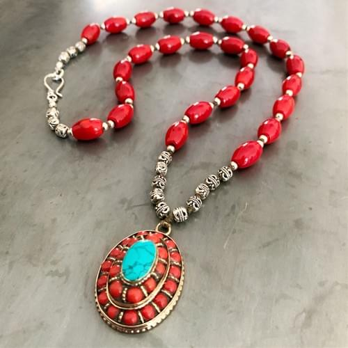 Tibetan G'au with Red Coral and Turquoise