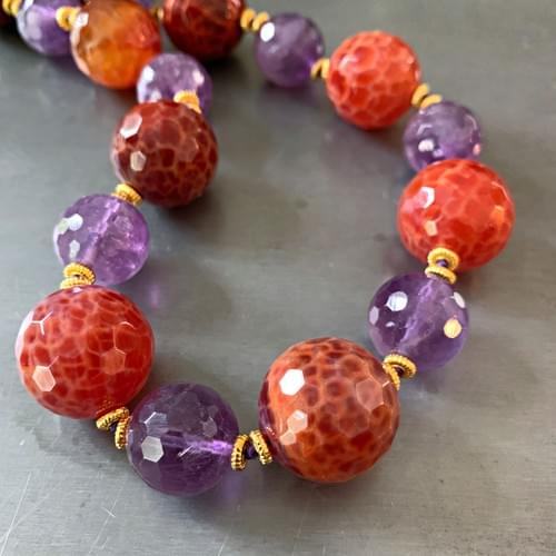 Amethyst and Fire Agate with Gold Vermeil