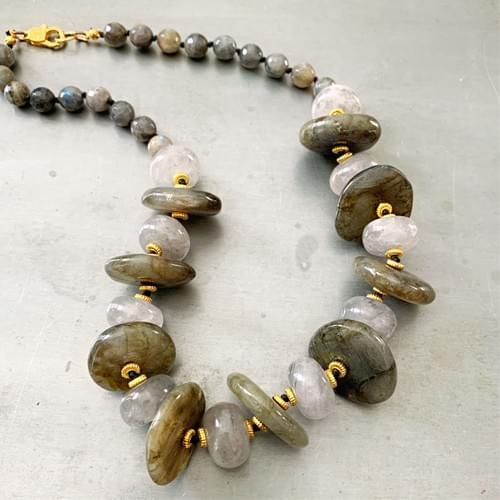 Labradorite and Gray Quartz Necklace