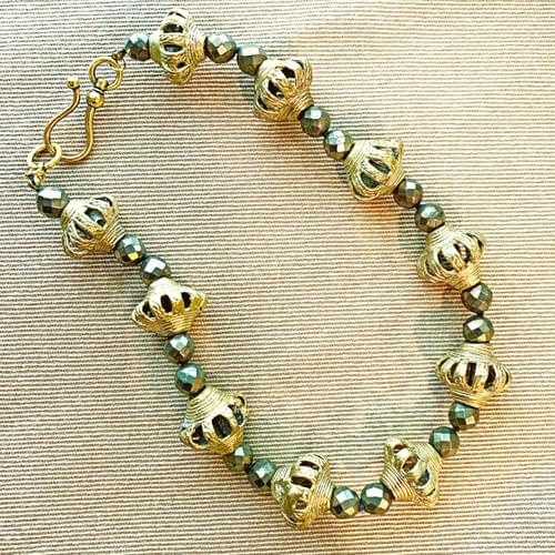 Baule Crown Beads with Pyrite Necklace