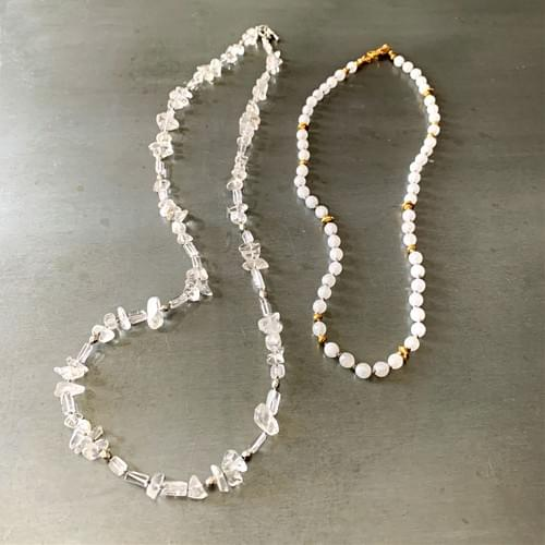 White Agate and Quartz Crystal Strand Necklaces