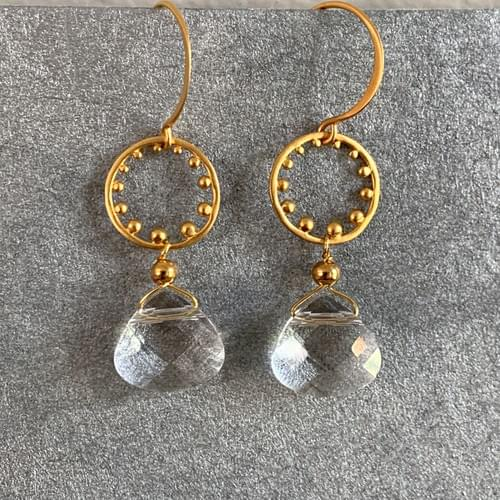 Quartz Drops on Gold Vermeil Circles