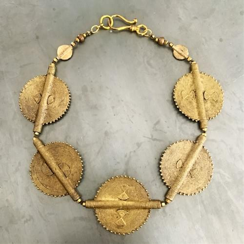 Baule Lost Wax Casting Flat Disk Necklace