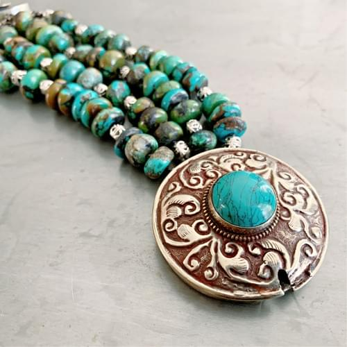 Large Tibetan Clasp with Turquoise Bracelet