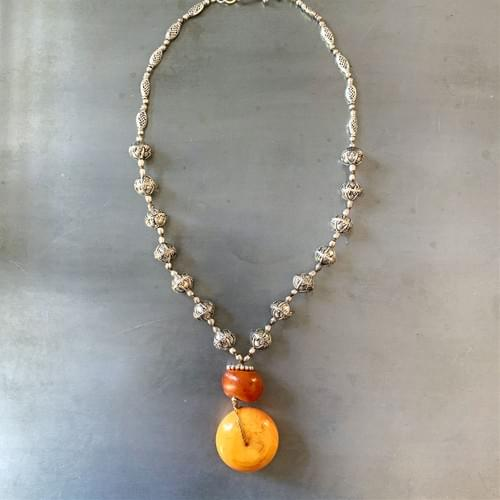 Long Necklace with Moroccan Berber Amber