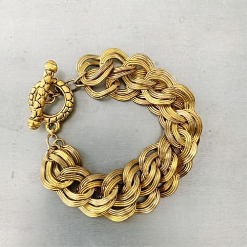 Vintage Two Strand Curb Link Chain Bracelet