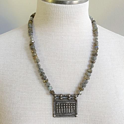 Rajasthani Seven Mothers Pendant with Labradorite