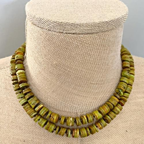 Green Turquoise Rondelle Strand Necklace