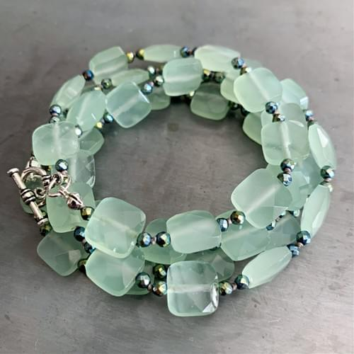 Green Quartz and Hematite Strand Necklace and Wrap-Strand Bracelet