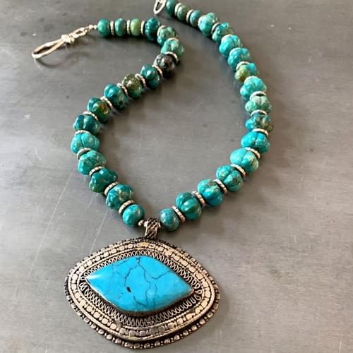 Turquoise Kazakh Tribal Pendant