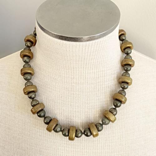 Pyrite and Vintage Bronze Necklace