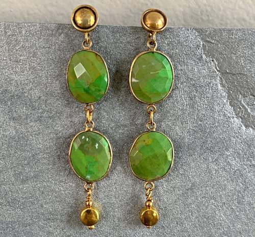 Green Turquoise and Gold Vermeil Drops