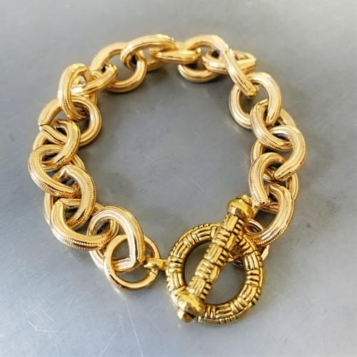 Textured Gold-Plated Cable Chain Bracelet