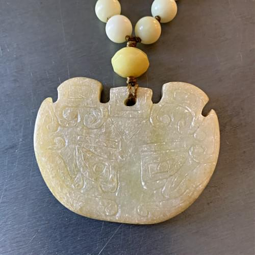 Celadon Green Jade Incised Pendant with Hand-knotted Jade Beads