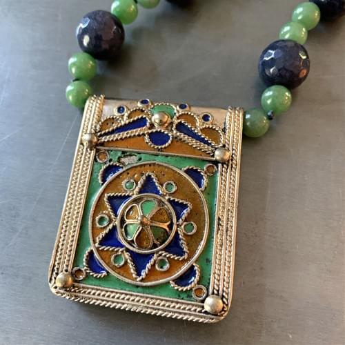 Moroccan Enameled Amulet with Jade and Blue Quartz