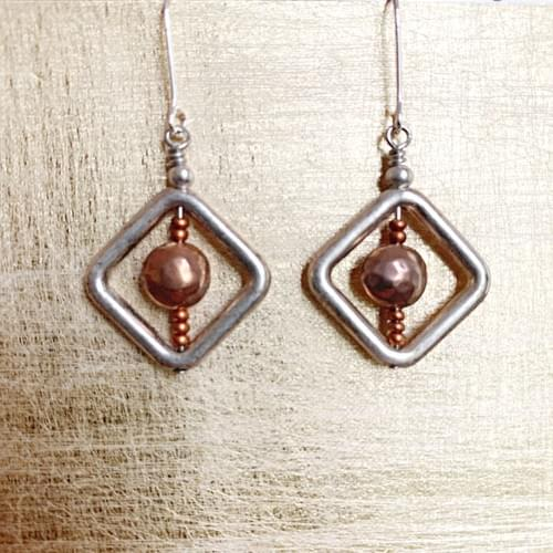 Silver and Copper Geometric Earrings