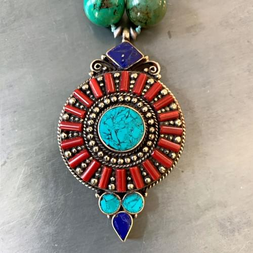 Nepali Coral, Lapis and Turquoise Pendant Necklace