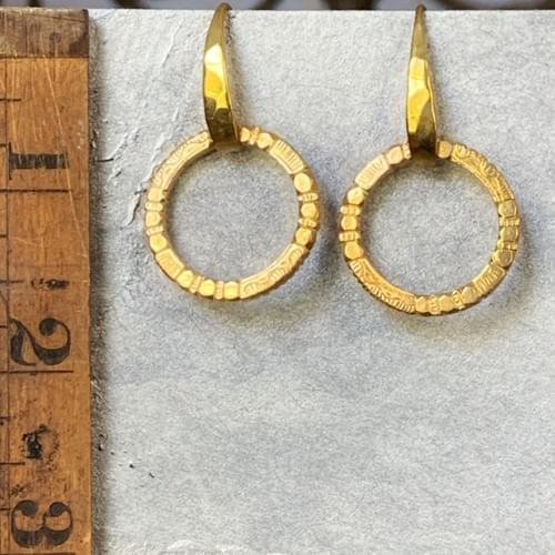 Textured Loop on Hand Hammered Ear Wires