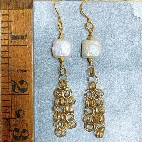 Coin Pearl and Loopy Chain Earrings
