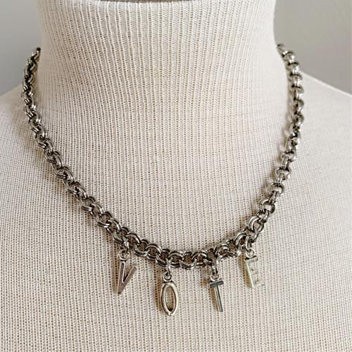 Silver-tone Double Link Chain VOTE Necklace
