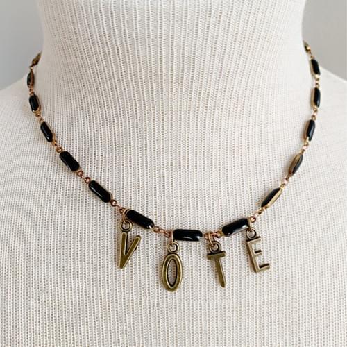 Vintage Black Enamel Bar Chain VOTE Necklace
