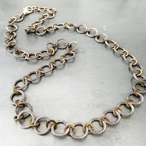 Two-tone Textured Chain Necklace