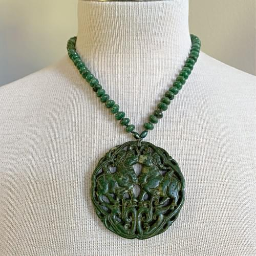 Carved Green Jade Round with Hand-knotted Jade Beads