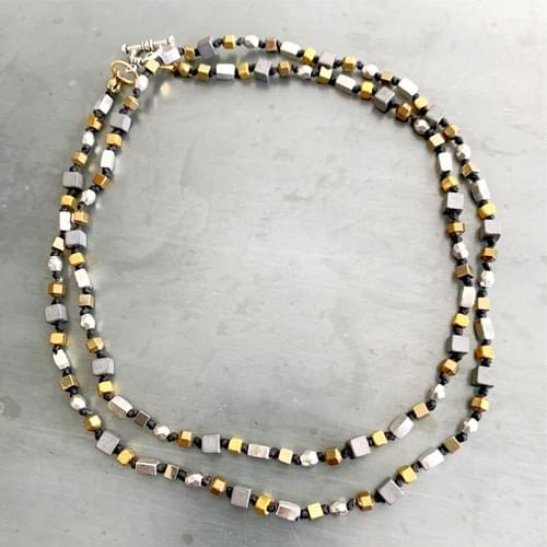 Two Tone Cubes Strand Necklace or Wrap Bracelet