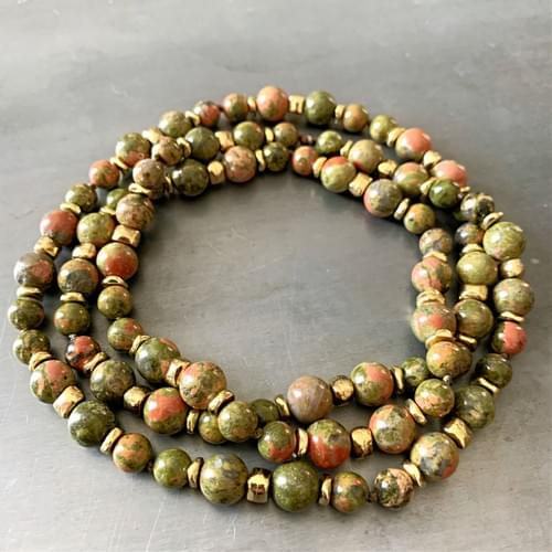 Unakite with Golden Accents Strand Necklace