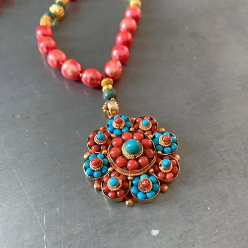 Tibetan Coral, Turquoise, Gold Vermeil and Freshwater Pearl Necklace