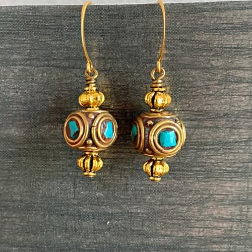 Nepali Turquoise and Brass Drops