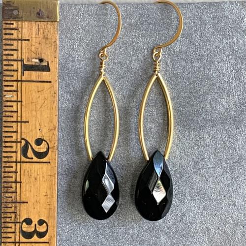 Faceted Onyx Drop Earrings