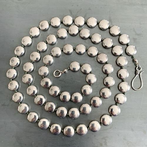 Silver Lentil Strand Necklace