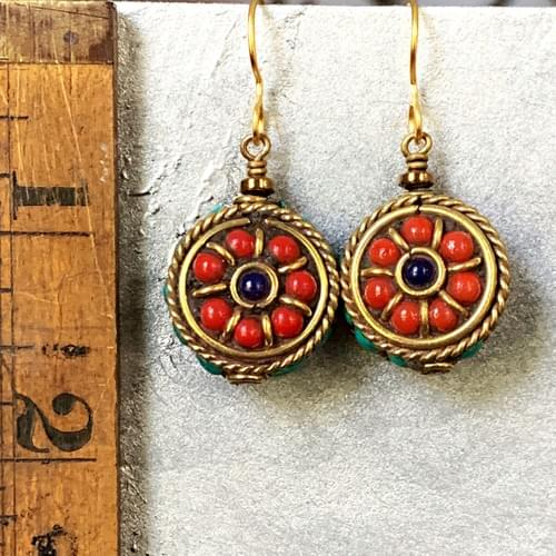 Nepali Brass, Coral, Turquoise and Lapis Rounds